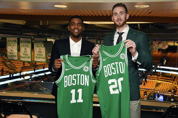 Nba Pro Basketball Art Print featuring the photograph Kyrie Irving and Gordon Hayward by Brian Babineau