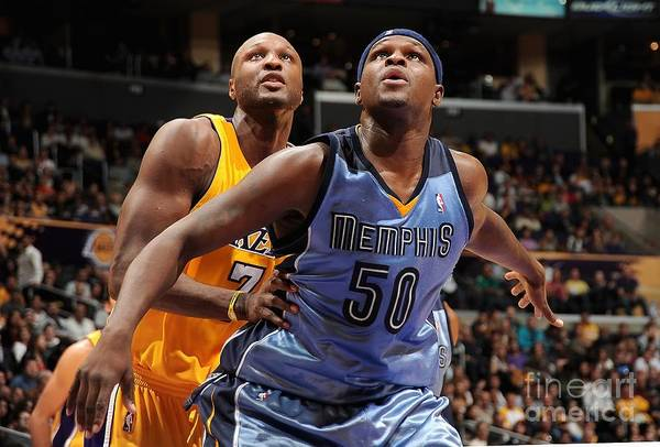 Nba Pro Basketball Art Print featuring the photograph Lamar Odom and Zach Randolph by Andrew D. Bernstein