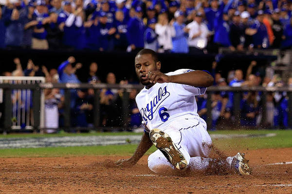 Game Two Art Print featuring the photograph Lorenzo Cain and Billy Butler by Elsa