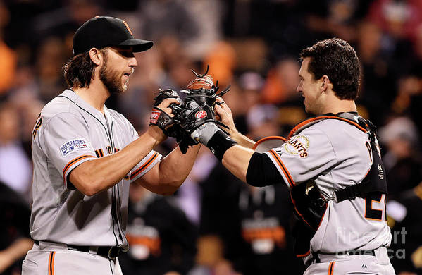 Pnc Park Art Print featuring the photograph Madison Bumgarner and Buster Posey by Jason Miller