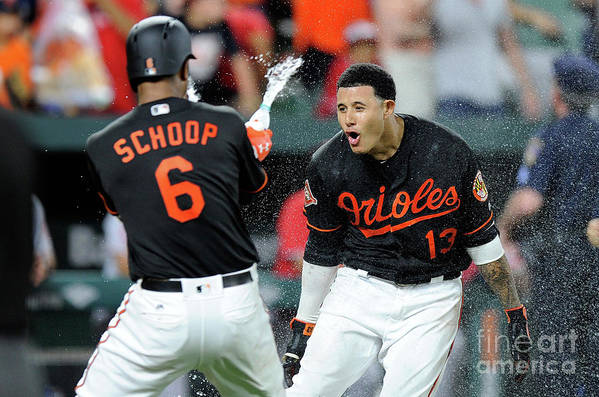 Three Quarter Length Art Print featuring the photograph Manny Machado and Jonathan Schoop by Greg Fiume