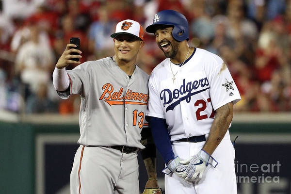 Second Inning Art Print featuring the photograph Manny Machado and Matt Kemp by Patrick Smith