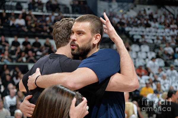 Playoffs Art Print featuring the photograph Marc Gasol and Pau Gasol by Mark Sobhani