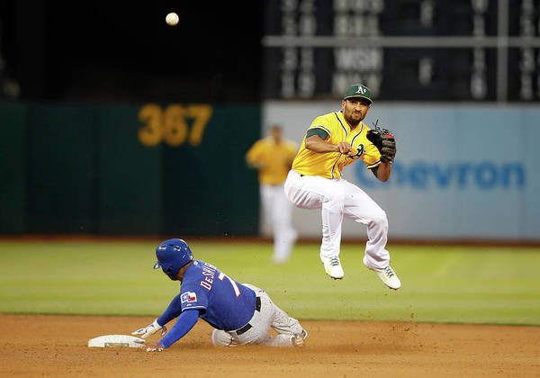 Double Play Art Print featuring the photograph Marcus Semien and Shin-soo Choo by Ezra Shaw