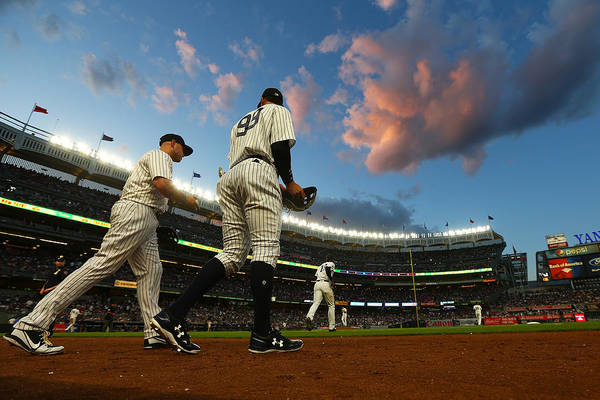 Second Inning Art Print featuring the photograph Matt Holliday and Aaron Judge by Mike Stobe