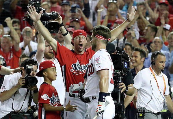 People Art Print featuring the photograph Max Scherzer and Bryce Harper by Rob Carr