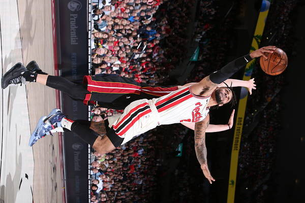 Nba Pro Basketball Art Print featuring the photograph Miami Heat v Portland Trail Blazers by Sam Forencich