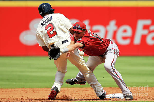 Atlanta Art Print featuring the photograph Michael Bourn and Nick Ahmed by Daniel Shirey