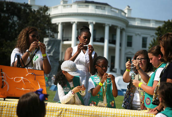 Event Art Print featuring the photograph Michelle Obama Hosts Girls Scouts At First-Ever White House Campout by Alex Wong