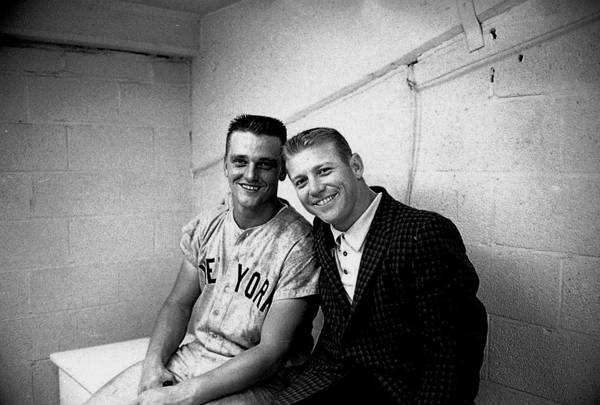American League Baseball Art Print featuring the photograph Mickey Mantle And Roger Maris by Herb Scharfman/sports Imagery