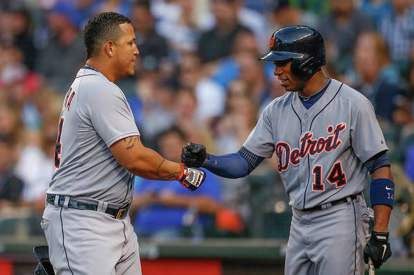 American League Baseball Art Print featuring the photograph Miguel Cabrera and Austin Jackson by Otto Greule Jr