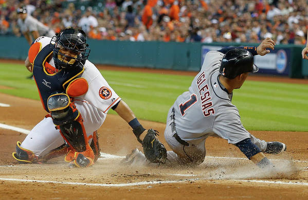 People Art Print featuring the photograph Miguel Cabrera and Hank Conger by Bob Levey