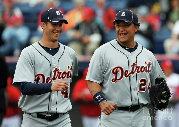 The End Art Print featuring the photograph Miguel Cabrera and Rick Porcello by Doug Benc