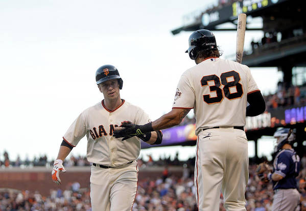 San Francisco Art Print featuring the photograph Mike Morse and Buster Posey by Ezra Shaw