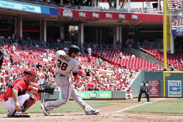 Great American Ball Park Art Print featuring the photograph Mike Morse by Joe Robbins
