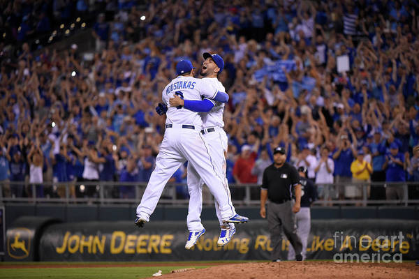 People Art Print featuring the photograph Mike Moustakas and Eric Hosmer by Ed Zurga