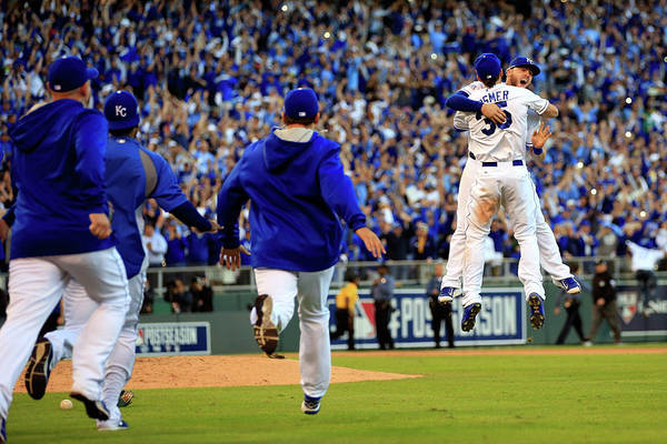 American League Baseball Art Print featuring the photograph Mike Moustakas and Eric Hosmer by Jamie Squire