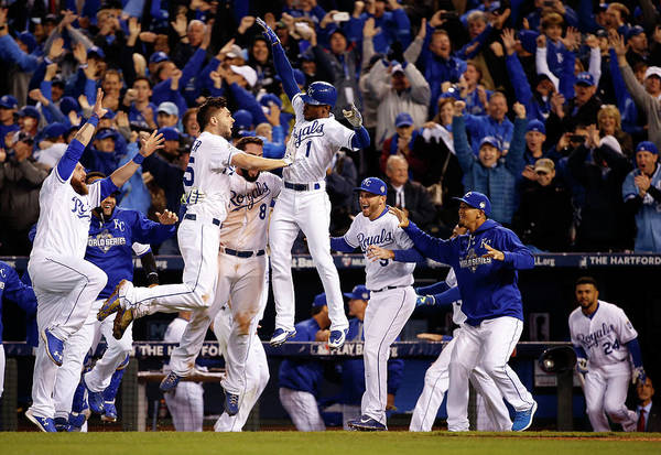 People Art Print featuring the photograph Mike Moustakas, Jarrod Dyson, and Eric Hosmer by Sean M. Haffey