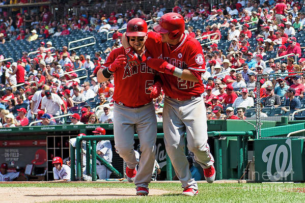 People Art Print featuring the photograph Mike Trout and Kole Calhoun by Patrick Mcdermott