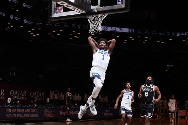 Nba Pro Basketball Art Print featuring the photograph Minnesota Timberwolves v Brooklyn Nets by Nathaniel S. Butler
