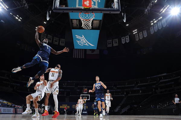 Nba Pro Basketball Art Print featuring the photograph Minnesota Timberwolves v Denver Nuggets by Bart Young