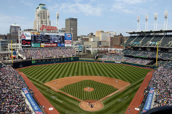 American League Baseball Art Print featuring the photograph Minnesota Twins v Cleveland Indians by David Maxwell