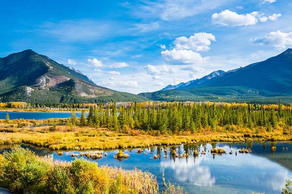 Tranquility Art Print featuring the photograph Minnewanka lake in Canadian Rockies in Banff Alberta Canada by WanRu Chen