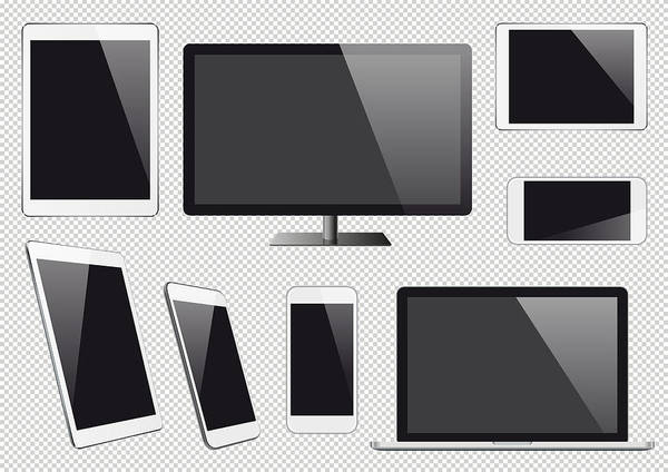 Digital Display Art Print featuring the drawing Modern Vector Digital Devices With Blank Screens by Et-artworks