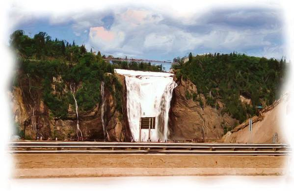 Montmorency Falls At Montmorency River Which Is A Tributary To St Lawrence River In Quebec Higher Than Niagara Art Print featuring the mixed media Montmorency Falls At Montmorency River Which Is A Tributary To St Lawrence River In Quebec by Asbjorn Lonvig
