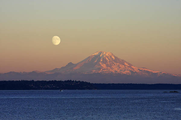 3scape Art Print featuring the photograph Moon Over Rainier by Adam Romanowicz