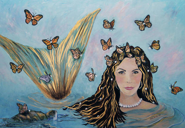 Mermaid Art Print featuring the painting More Precious Than Gold by Linda Queally