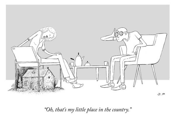 Oh Art Print featuring the drawing My Little Place In The Country by Julia Leigh and Phillip Day