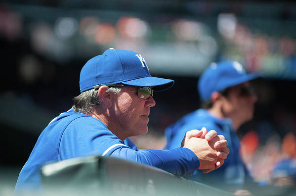 American League Baseball Art Print featuring the photograph Ned Yost by Rob Tringali