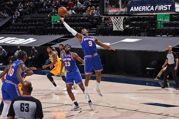 Nba Pro Basketball Art Print featuring the photograph New York Knicks v Utah Jazz by Garrett Ellwood