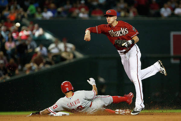 Double Play Art Print featuring the photograph Nick Ahmed and Freddy Galvis by Christian Petersen
