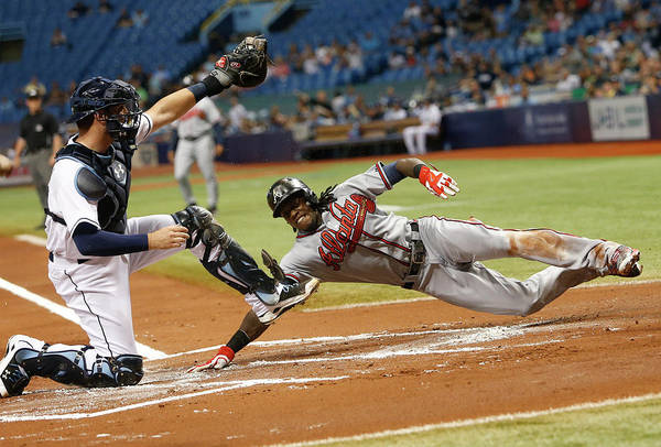 Baseball Catcher Art Print featuring the photograph Nick Markakis and Cameron Maybin by Brian Blanco
