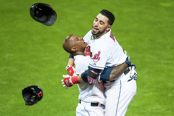American League Baseball Art Print featuring the photograph Nyjer Morgan and Mike Aviles by Jason Miller
