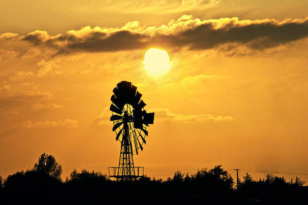 Sky Art Print featuring the photograph Old Windmill At Sunset by Bernd Schunack