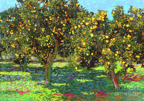 Landscape Art Print featuring the painting Orchard of Lemon Trees by Jane Small