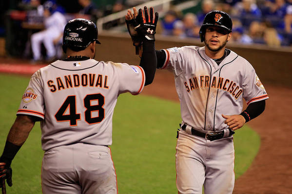 People Art Print featuring the photograph Pablo Sandoval and Gregor Blanco by Jamie Squire
