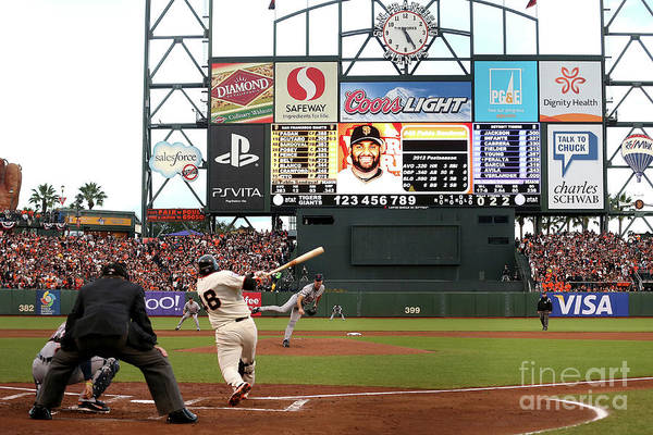 Viewpoint Art Print featuring the photograph Pablo Sandoval and Justin Verlander by Ezra Shaw