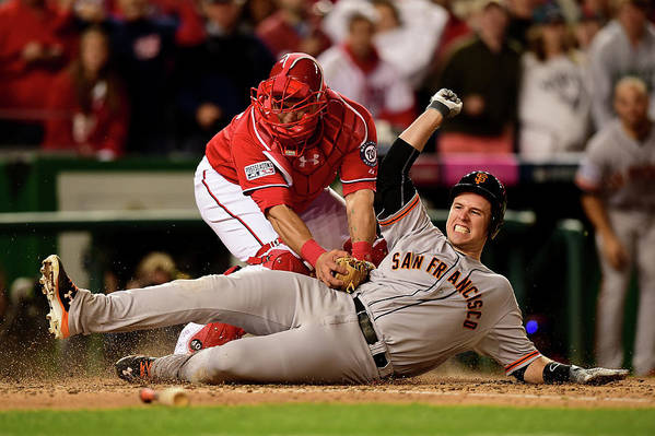 Game Two Art Print featuring the photograph Pablo Sandoval, Wilson Ramos, and Buster Posey by Patrick Smith