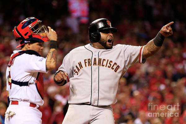 Game Two Art Print featuring the photograph Pablo Sandoval, Yadier Molina, and Hunter Pence by Jamie Squire