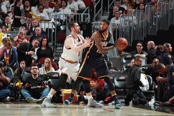 Playoffs Art Print featuring the photograph Paul George and Kevin Love by Jeff Haynes