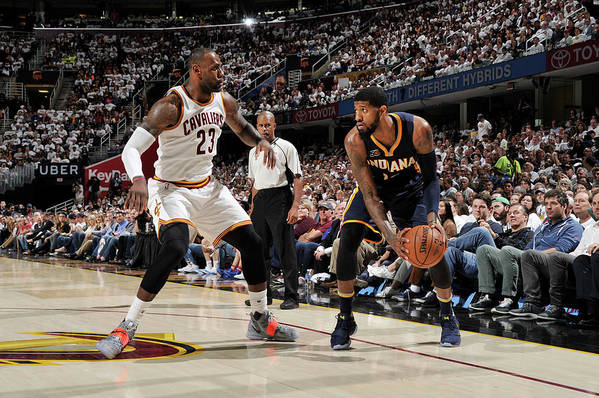 Playoffs Art Print featuring the photograph Paul George and Lebron James by David Liam Kyle