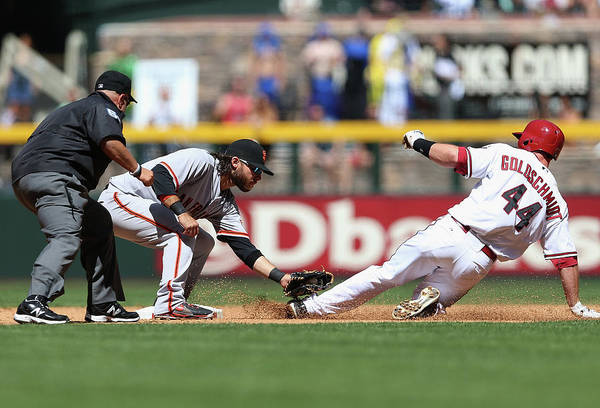 2nd Base Art Print featuring the photograph Paul Goldschmidt and Brandon Crawford by Christian Petersen