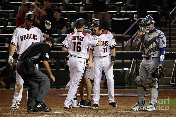 Ninth Inning Art Print featuring the photograph Paul Goldschmidt and Chris Owings by Christian Petersen