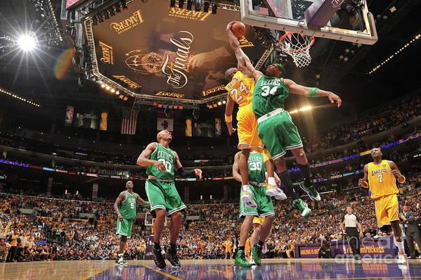 Playoffs Art Print featuring the photograph Paul Pierce and Kobe Bryant by Jesse D. Garrabrant