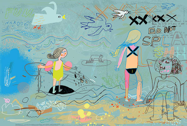 Child Art Print featuring the drawing People on the beach having fun by Beastfromeast