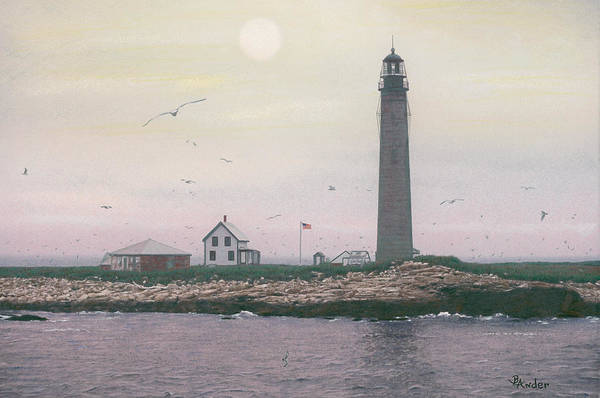 Lighthouse Art Print featuring the drawing Petit Manan Lighthouse by Brent Ander